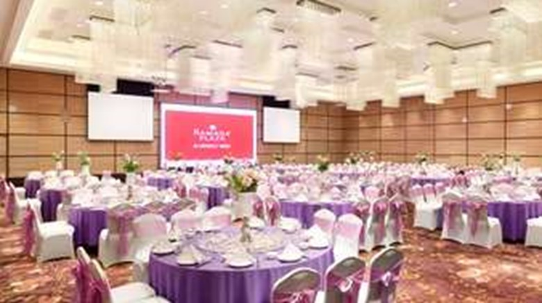 "Ramada Plaza Hotel Lianyungang Ballroom. Images powered by <a href='http://web.iceportal.com'  target=""_blank"">Ice Portal</a>."