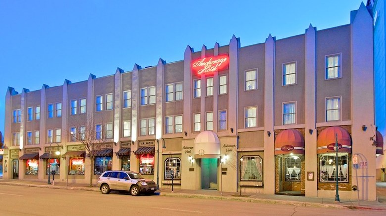 "Historic Anchorage Hotel Exterior. Images powered by <a href='http://www.leonardo.com'  target=""_blank"">Leonardo</a>."