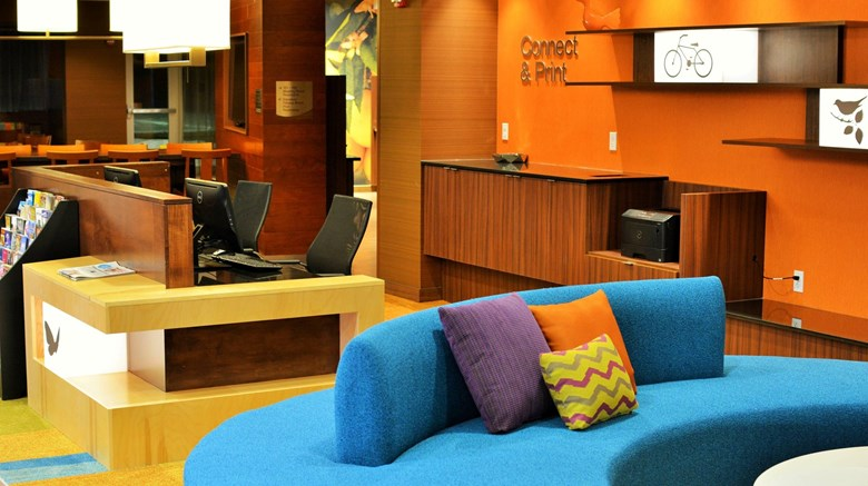 "Fairfield Inn & Suites Omaha Northwest Lobby. Images powered by <a href='http://www.leonardo.com'  target=""_blank"">Leonardo</a>."