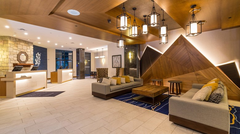 "Delta Whistler Village Suites Lobby. Images powered by <a href='http://www.leonardo.com'  target=""_blank"">Leonardo</a>."