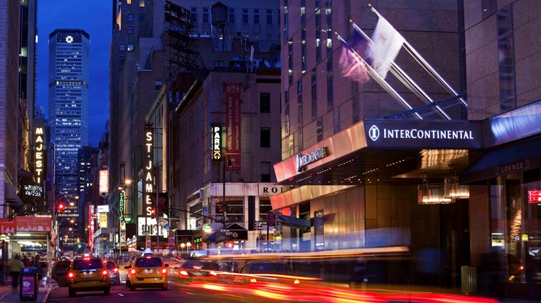 "InterContinental New York Times Square Exterior. Images powered by <a href='http://www.leonardo.com'  target=""_blank"">Leonardo</a>."