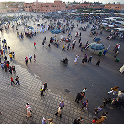Visit Jemaa el Fna, the main square of Marrakech, on this fam trip in Morocco. // © 2015 Thinkstock