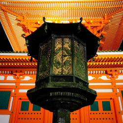 <p>Koyasan's Danjo Garan temple lights up the night. // © 2015 iStock</p><p>Feature image (above): Okunoin Cemetery has more than 200,000 tombs and...