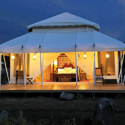 <p>Guests will sleep luxuriously with The Ultimate Travelling Camp. // © 2015 The Ultimate Travelling Camp</p><p>Feature image (above): Shanti Stupa...