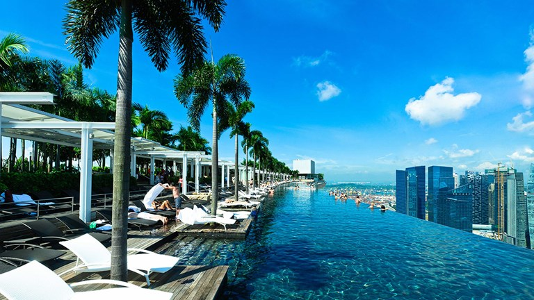 Marina Bay Sands' 57th-floor Sands SkyPark includes an infinity pool offering views of Singapore.