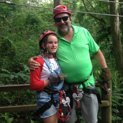 Ken Shapiro and his daughter, Sally, ziplining // © 2015 Kenneth Shapiro
