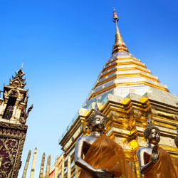 Wat Phrathat Doi Suthep is a popular sight in Chiang Mai, Thailand. // © 2014 Thinkstock
