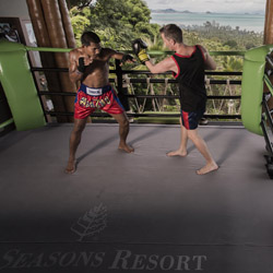 Four Seasons Resort Koh Samui's newest offering is a Muay Thai kick boxing ring with ocean views. // © 2014 Four Seasons