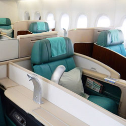 <p>Korean Air's business class offers lie-flat sleepers. // © 2014 Shane Nelson</p><p>Feature image (above): Travelers in Air Prestige class have...