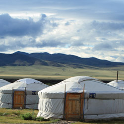 Travelers on this fam trip will stay in traditional gers (tents) for six nights. // © 2014 Thinkstock