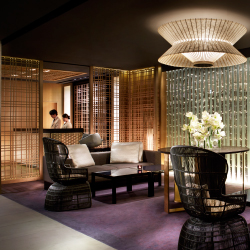<p>Guests check in while seated at tables adjacent to the reception desk. // © 2016 The Ritz-Carlton, Kyoto</p><p>Feature image (above): The property...