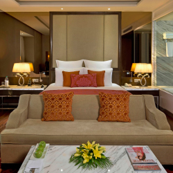 <p>A guestroom at Radisson Blu Jaipur // © 2016 Radisson</p><p>Feature image (above): Blu Most properties feature a buffet offering Western and Indian...