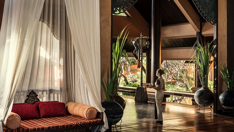 The lobby at Anantara Golden Triangle Elephant Camp & Resort