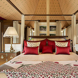 <p>A guestroom at 60-villa The Oberoi Sukhvilas in Chandigarh, India, the group's third luxury addition in 2016 // © 2016 Oberoi Hotels &...