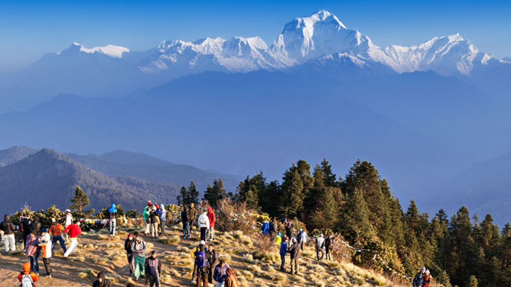 From the top of Poon Hill, trekkers enjoy exceptional views of many peaks and passes, including Dhaulagiri. // © 2015 Shutterstock