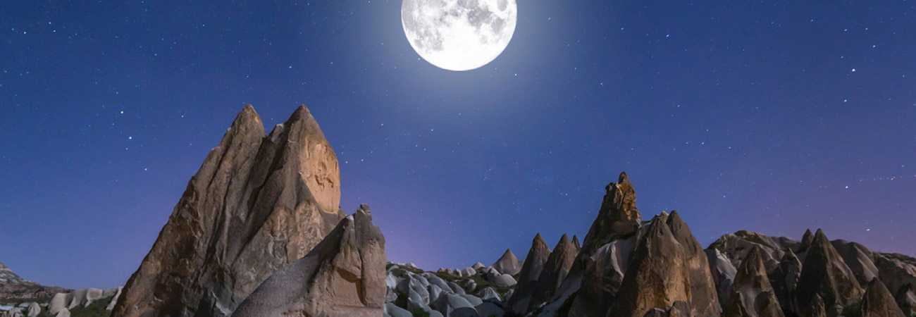 Walking by Moonlight Through Cappadocia, Turkey