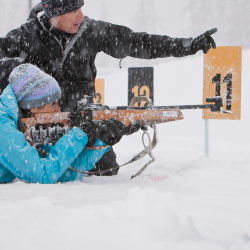 Learn rifle marksmanship and Nordic skiing with Discover Biathlon. // © 2015 Whistler Sport Legacies/Noel Hendrickson