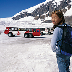 Families can experience Columbia Icefield with a tour from Brewster Travel Canada. // © 2015 Brewster Travel Canada