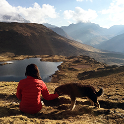 <p>Resting at the top of Cruzccasa Pass in Peru with a new hiking companion. // © 2015 Valerie Chen</p><p>Feature image (above): Outside of Pisac...