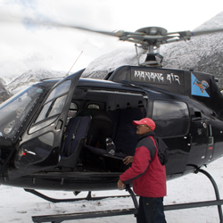 <p>Manang Air charters helicopter rides over Everest Base Camp. // © 2016 Mindy Poder</p><p>Feature image (above): The highlight of a helicopter trip...