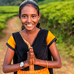 <p>Placing the palms together and bowing slightly is a traditional greeting in Sri Lanka. // © 2016 iStock</p><p>Feature image (above): Sri Lanka has...