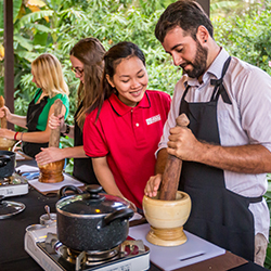 <p>After a village walk, guests learn how to make traditional Khmer cuisine. // © 2016 Urban Adventures</p><p>Feature image (above): An...