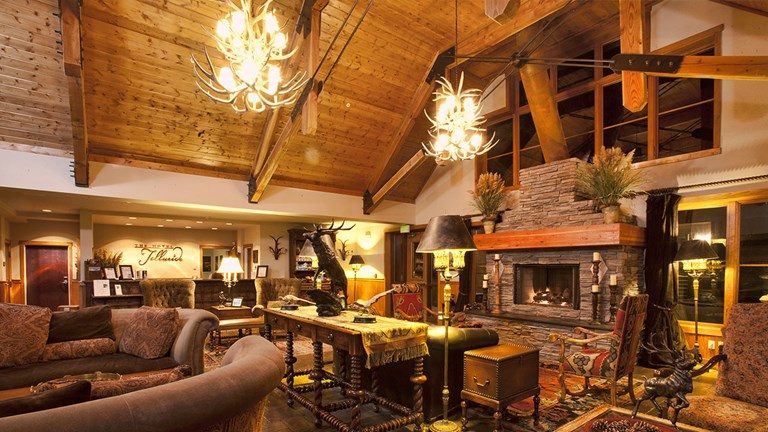 Bask in the warmth of The Hotel Telluride's lobby after a day of climbing.