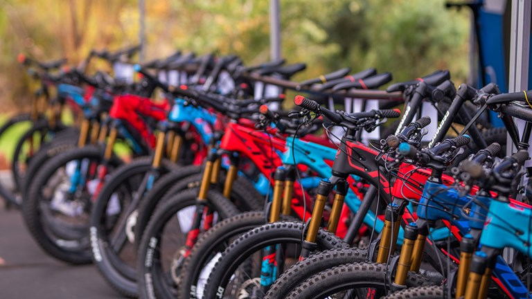 Guests may be outfitted with high-end Pivot mountain bikes.