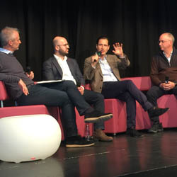 <p>Discussing how to slow the exodus of millennial skiers are, from left to right: Phocuswight's Douglas Quinby, Airbnb's Benjamin Glaenzer, Expedia's...