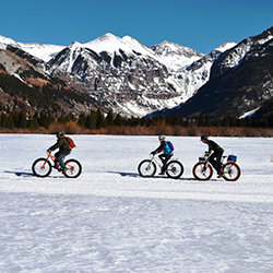 Telluride Bootdoctors leads a fat-bike snow tour. // © 2015 Telluride Boot Doctors