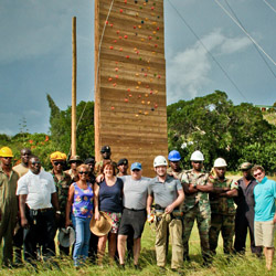 Rope activities and a 45-foot climbing wall are part of the General Colin Powell Challenge Course on Treasure Beach. © // 2014 Jamaica Tourist Board