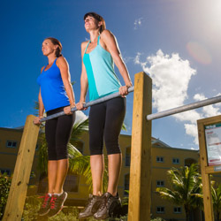 <p>At Jewel Paradise Cove Beach Resort & Spa, health-conscious guests can work out along the property's 10-station fitness trail. // © 2015 Jewel...