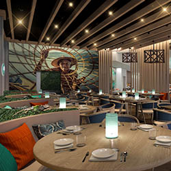 "<p>Yara, the resort's on-site steakhouse, is named after the indigenous Taino people's word for ""place."" // © 2016 Margaritaville Beach Resort Grand..."
