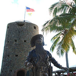 "<p>The English pirate Edward Teach, known as ""Blackbeard,"" is commemorated at Skytsborg Tower in Charlotte Amalie, St. Thomas. // © 2016 USVI..."