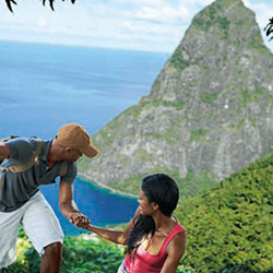 <p>Only basic hiking gear is needed when exploring Gros Piton, the taller of the two mountains. // © 2014 Saint Lucia Tourism Board</p><p>Feature...