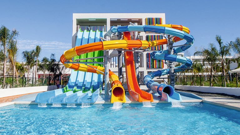 Hotel Riu Republica features a waterpark with several mega-slides.