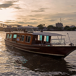 <p>The Siam Hotel offers a private speedboat shuttle service that takes guests to nearby attractions such as the Grand Palace. // © 2015 The Siam...