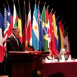 <p>Wilhelm Von Breymann, Costa Rica's new minister of tourism, gave a speech as part of Expotur's opening ceremony. // © 2014 Mark...
