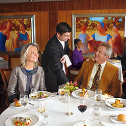 The refurbished Queen Mary 2 will feature additional Britannia Club balcony staterooms, which allows for flexible dining options onboard. // © 2015...