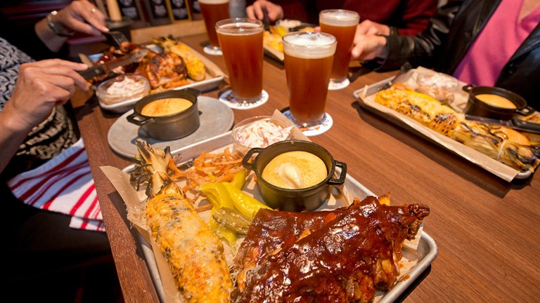 Don't miss a pig-out meal at Pig & Anchor, where the barbecue is served fresh from the on-site specialty smoker.
