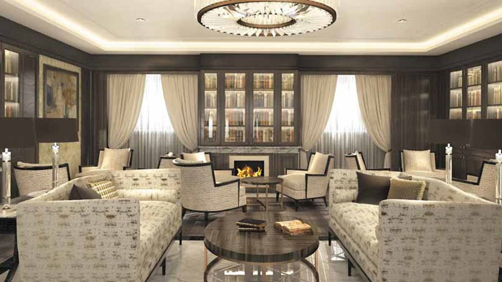 Regent Seven Seas Cruises' Navigator ship renovation will include a lounge with a library and fireplace. // © 2016  Regent Seven Seas Cruises 2