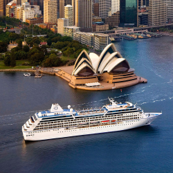 Oceania's Insignia in Australia: The ship will sail a unique world cruise in 2015.  // © 2014 Oceania Cruises