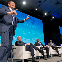 <p>From left: CNN's Richard Quest, moderator of Cruise Shipping Miami's State of the Industry panel, interviewed Pierfrancesco Vago of MSC Cruises;...