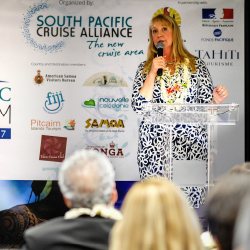 <p>Crystal Morgan, director of itinerary planning for Princess Cruises, spoke at the South Pacific Cruise Forum in October. // © 2016 Tahiti Zoom -...