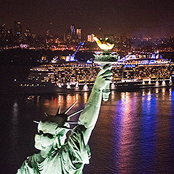 <p>Royal Caribbean International's Anthem of the Seas celebrated its arrival in the U.S. with a sailing past the Statue of Liberty. // © 2015 Royal...