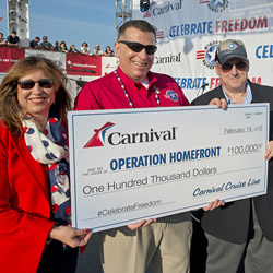 <p>At an event honoring military service members, Carnival presented $100,000 to national military assistance non-profit Operation Homefront. // ©...