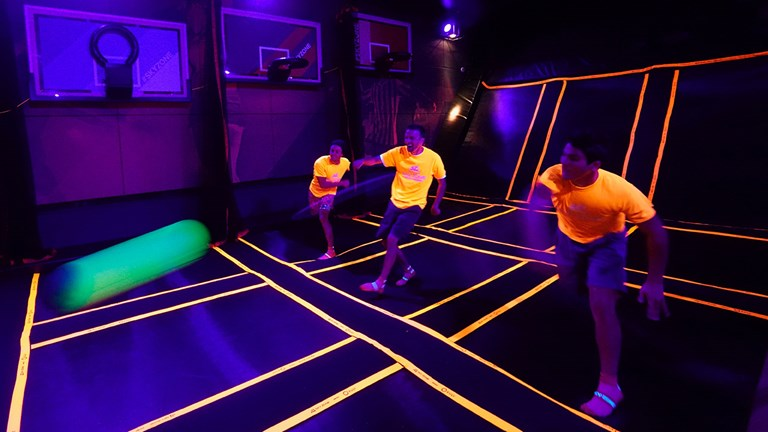 "Clients can book a ""glow party"" session at the first Sky Zone trampoline park at sea."