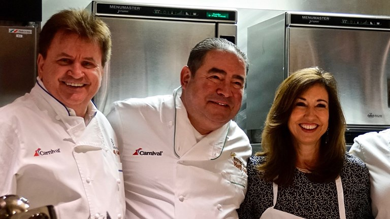 Carnival's latest celebrity chef partners include Rudi Sodamin (left) and Emeril Lagasse (center).