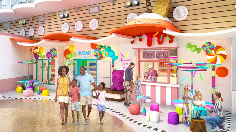 Oasis and Allure will feature the colorful candy and ice-cream shop Sugar Beach.