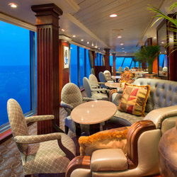 The Horizons observation lounge onboard Oceania Insignia is a great place to watch the sunset. // © 2014 Oceania Cruises